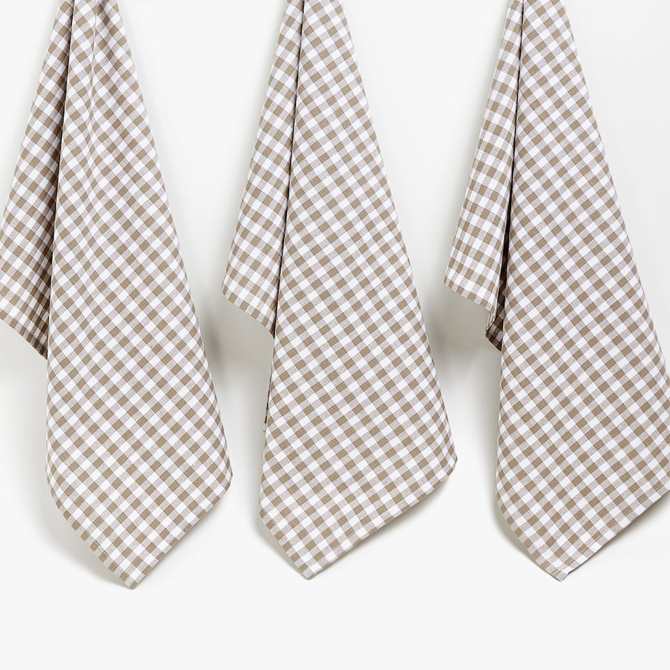 CHECKED COTTON TEA TOWEL (SET OF 3)