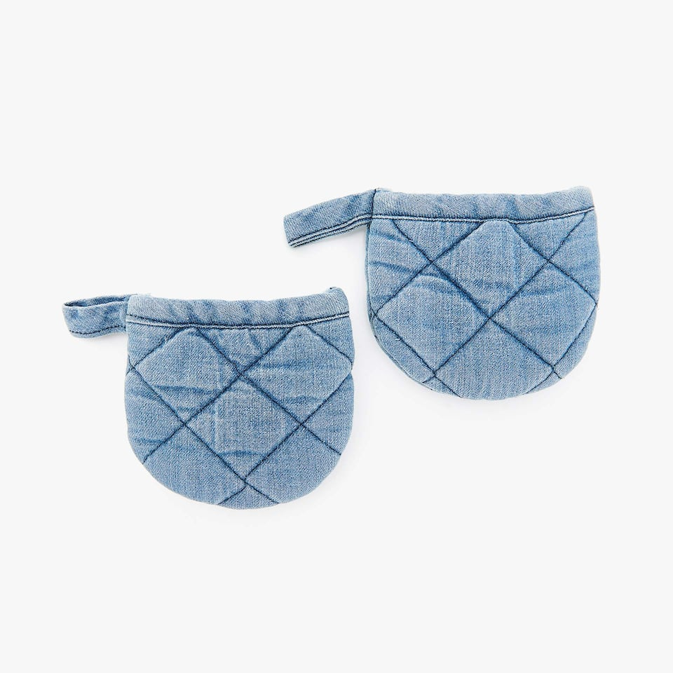 COTTON DENIM MINI POT HOLDERS