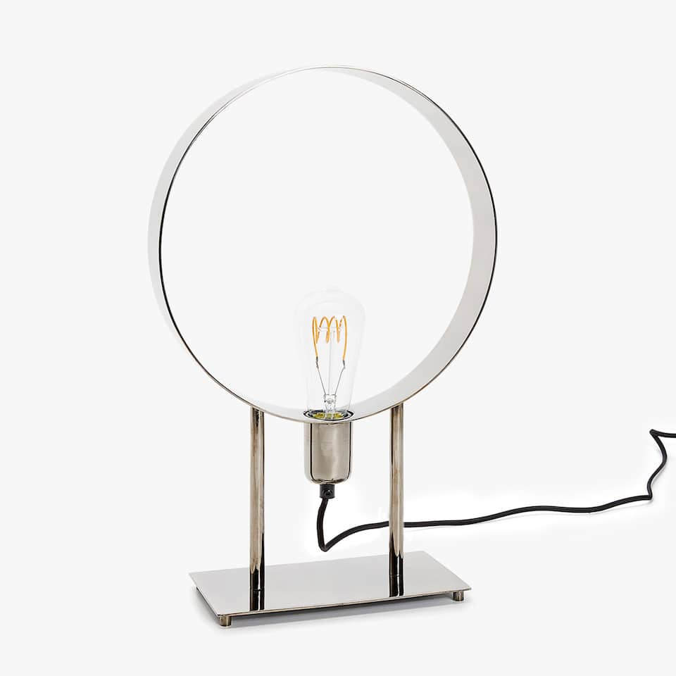 SILVER-TONED CIRCULAR STRUCTURE LAMP