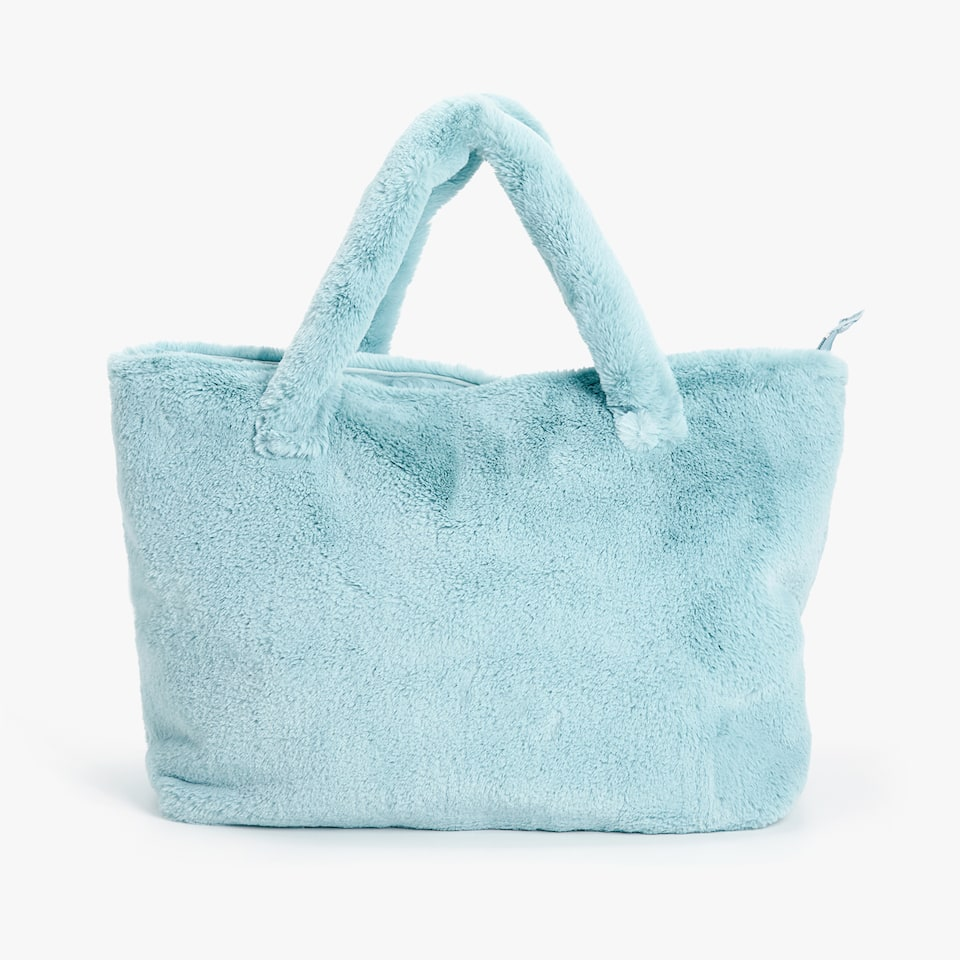 BLUEISH FAUX FUR BABY PUSHCHAIR BAG WITH STARS