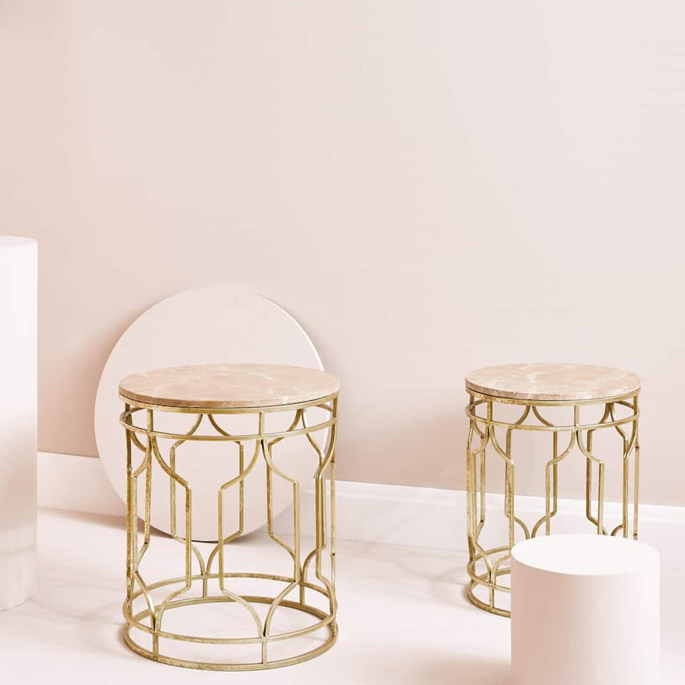 MARBLE TABLE WITH GOLD STRUCTURE (SET OF 2)