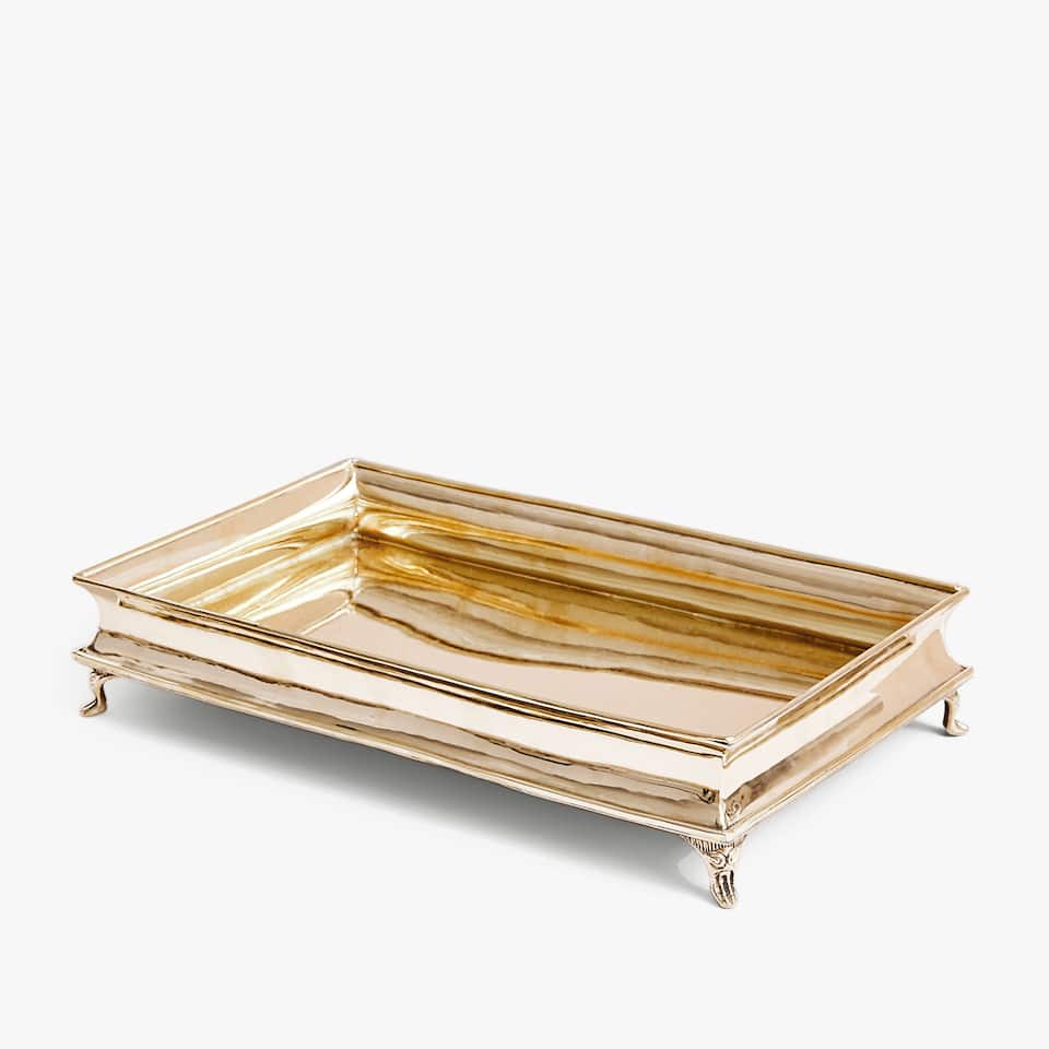 Golden tray with legs