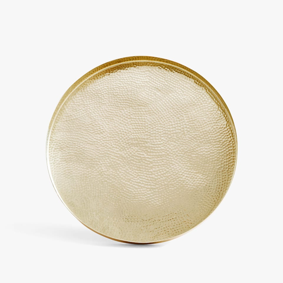 Round golden tray