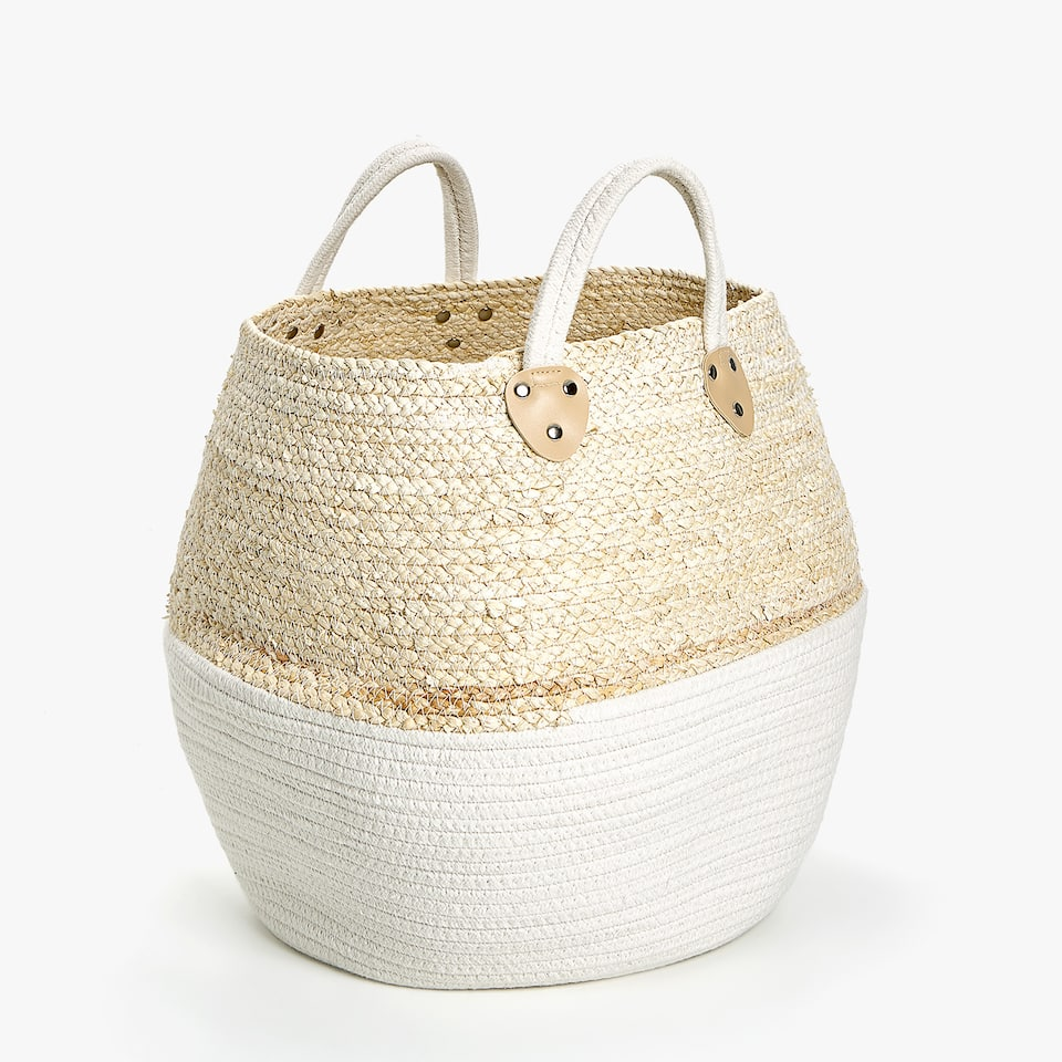 BASKET WITH HANDLES AND WHITE BASE