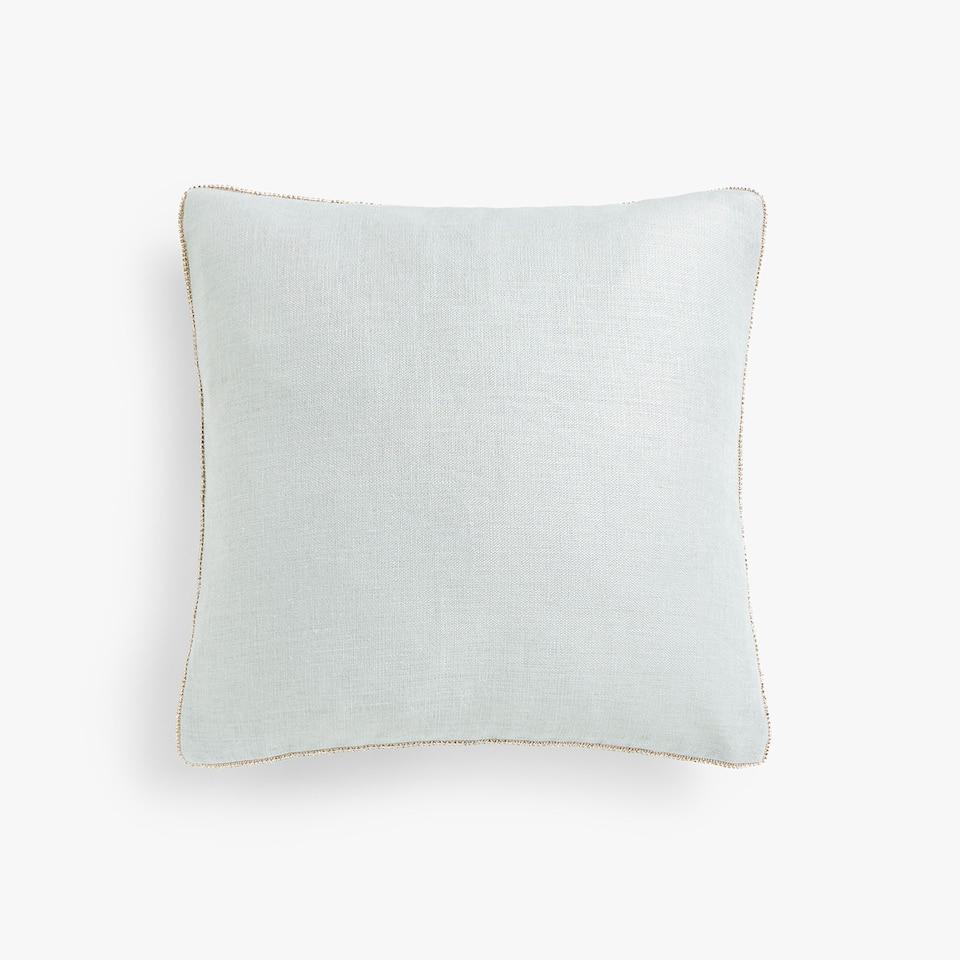 Diamanté linen cushion cover