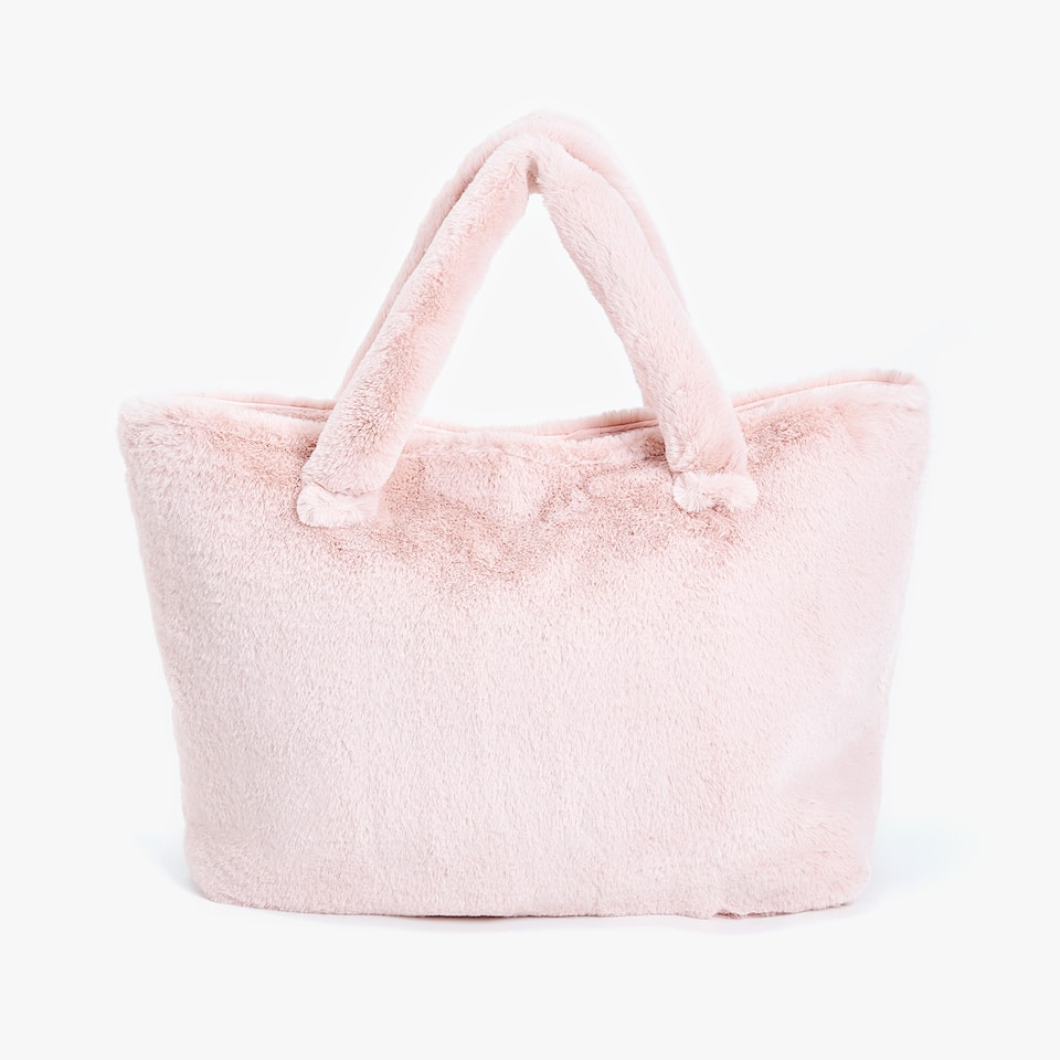 PINK FAUX FUR BABY PUSHCHAIR BAG