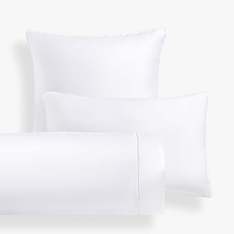 FUNDA DE ALMOHADA SATÉN PIPING BLANCO