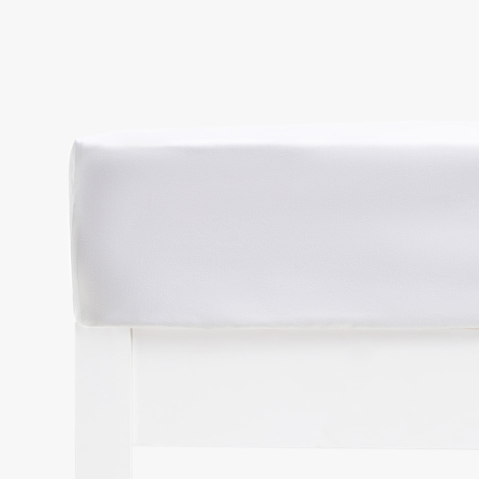 WHITE SATEEN FITTED SHEET