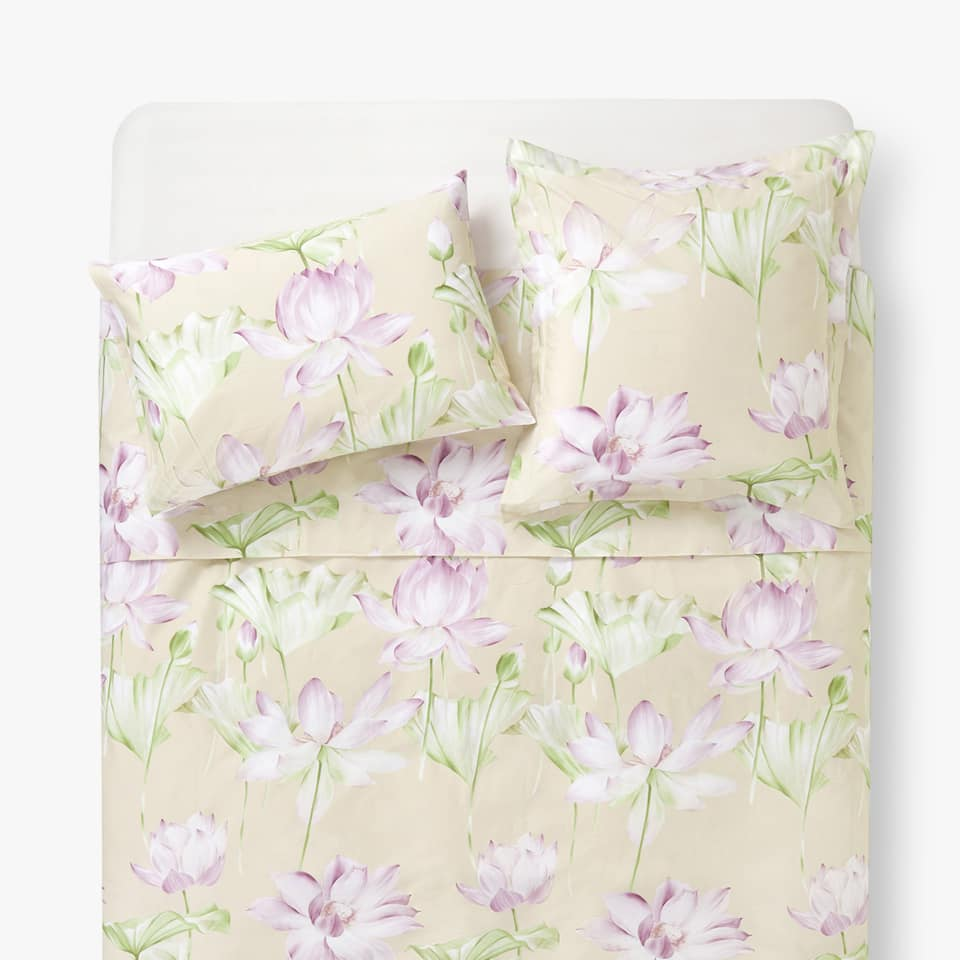 LOTUS FLOWER PRINT DUVET COVER