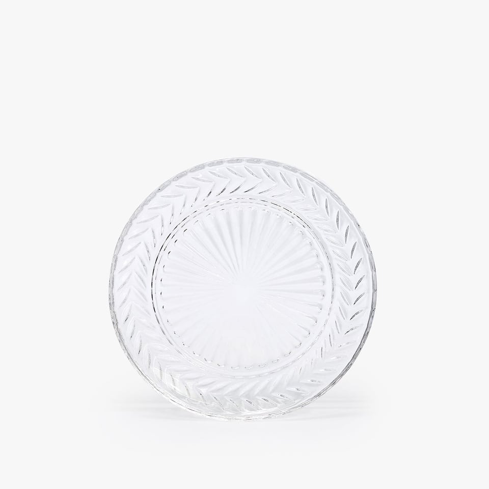 ENGRAVED GLASS BREAD DISH