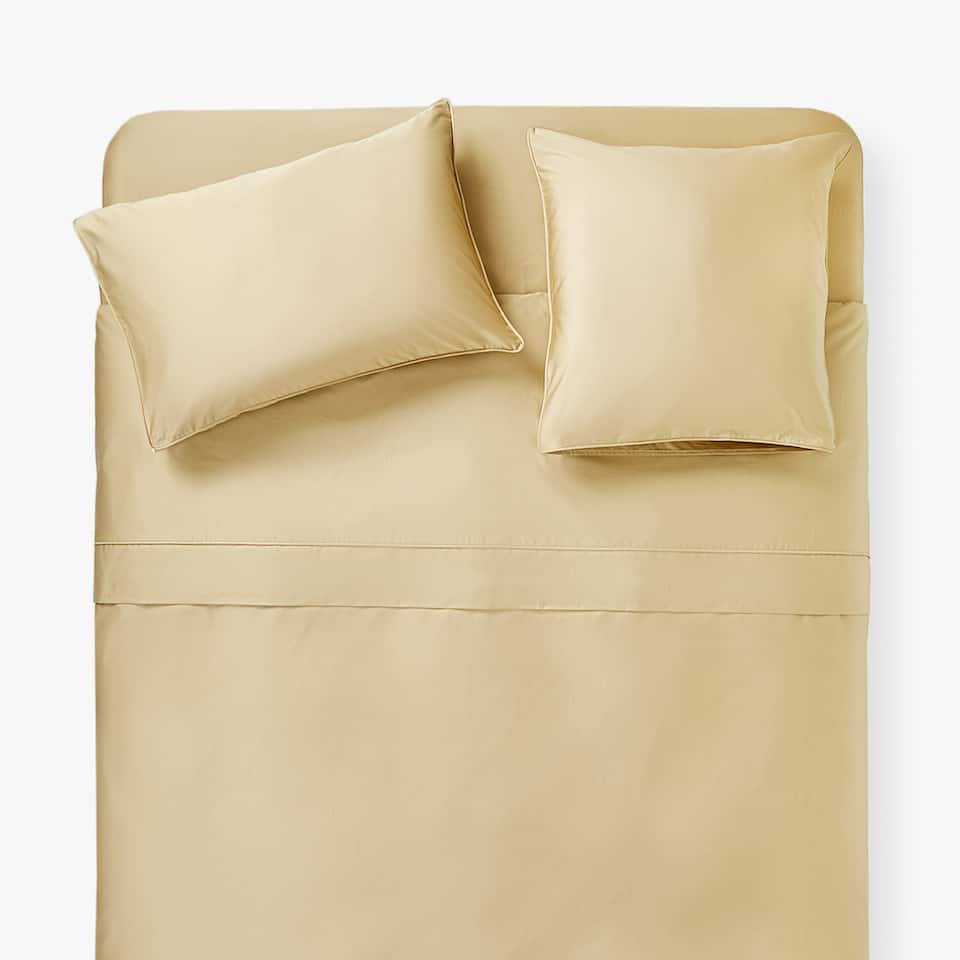 DARK BEIGE SATEEN DUVET COVER WITH PIPING