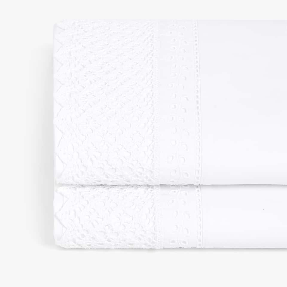 EMBROIDERY AND LACE TRIM FLAT SHEET