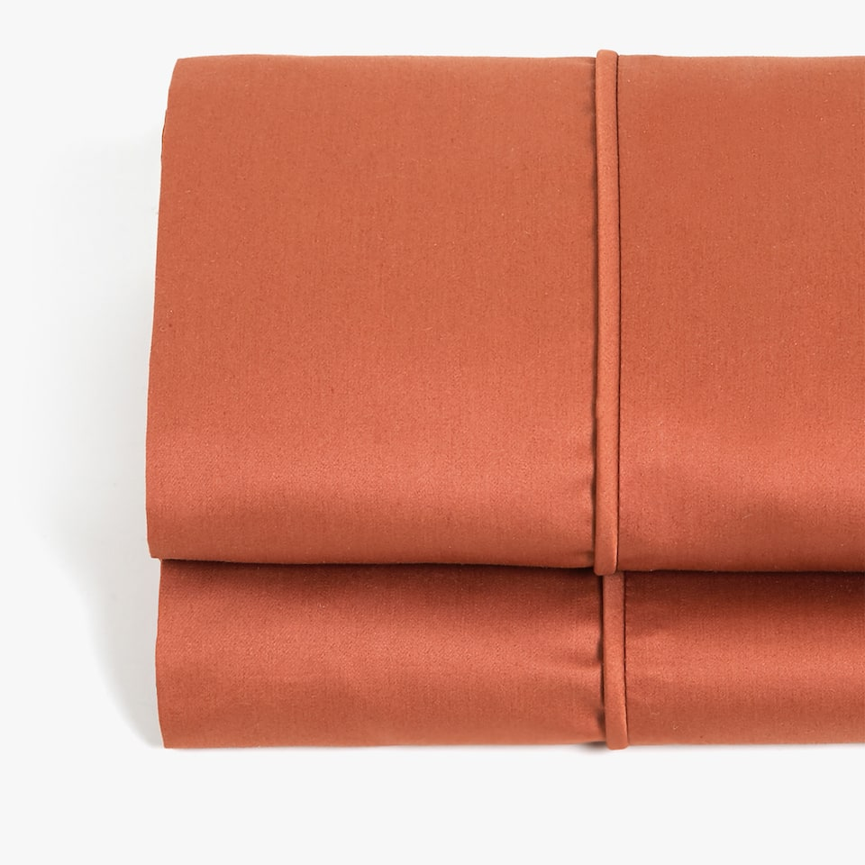TERRACOTTA SATEEN TOP SHEET WITH PIPING