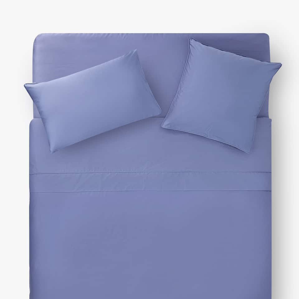 DEEP BLUE SATEEN DUVET COVER WITH PIPING