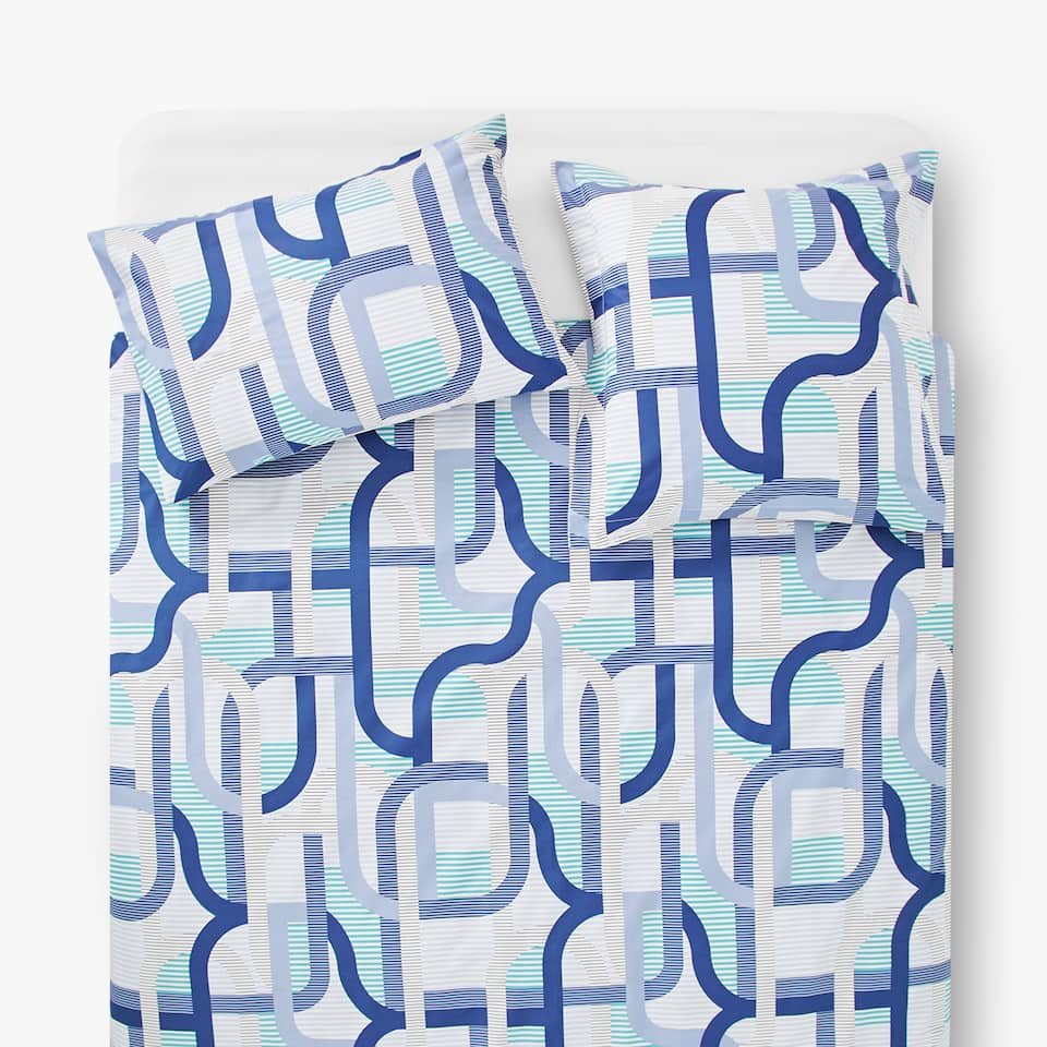 GEOMETRIC BANDS PRINT DUVET COVER