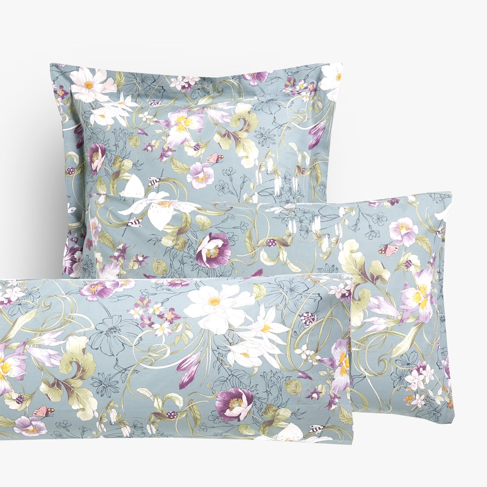 MULTICOLOURED FLORAL PRINT PILLOWCASE