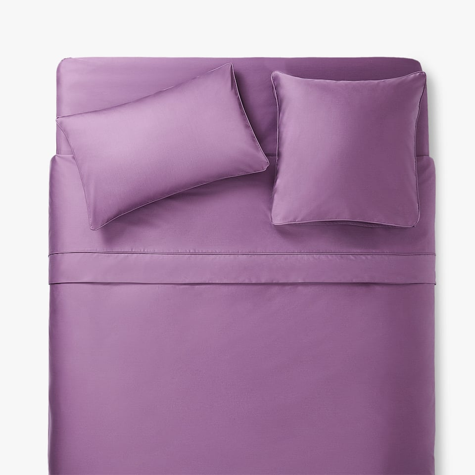 PLUM SATEEN DUVET COVER WITH PIPING