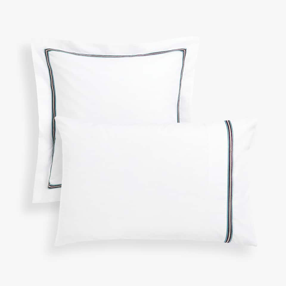 EMBROIDERED BAND PILLOWCASE