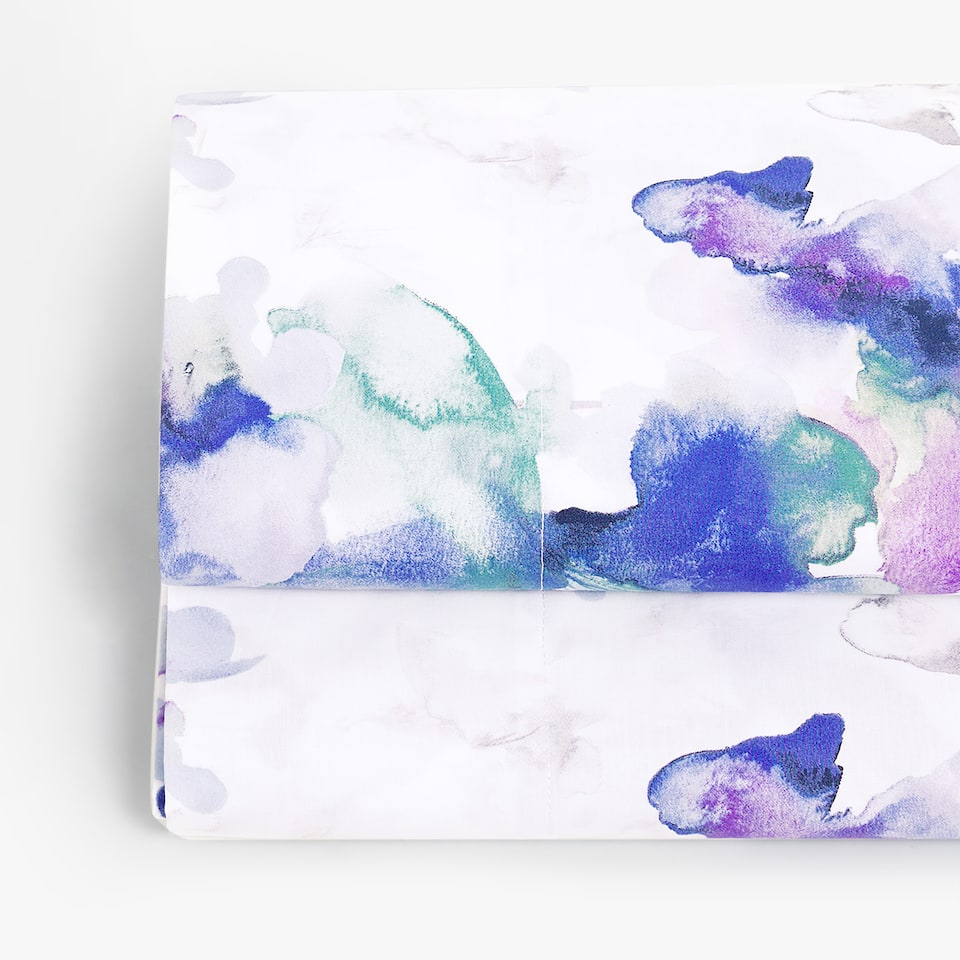 WATERCOLOUR FLORAL PRINT FLAT SHEET