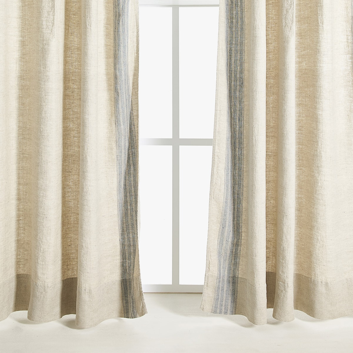 Image 1 Of The Product LINEN CURTAIN WITH STRIPED PANEL