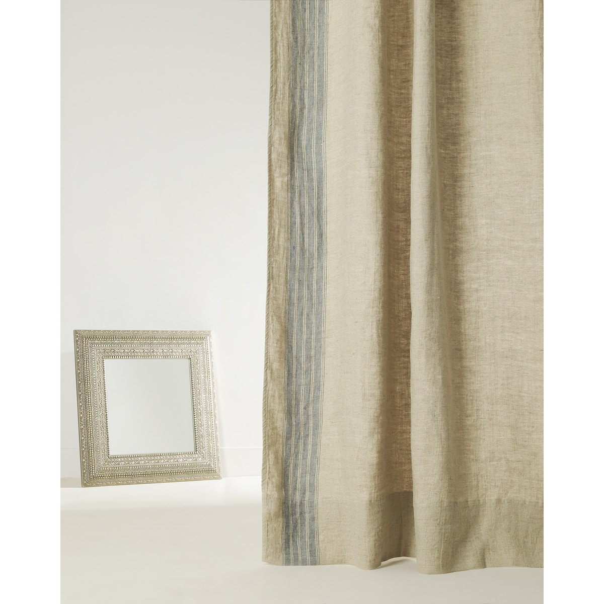 Image 6 Of The Product LINEN CURTAIN WITH STRIPED PANEL