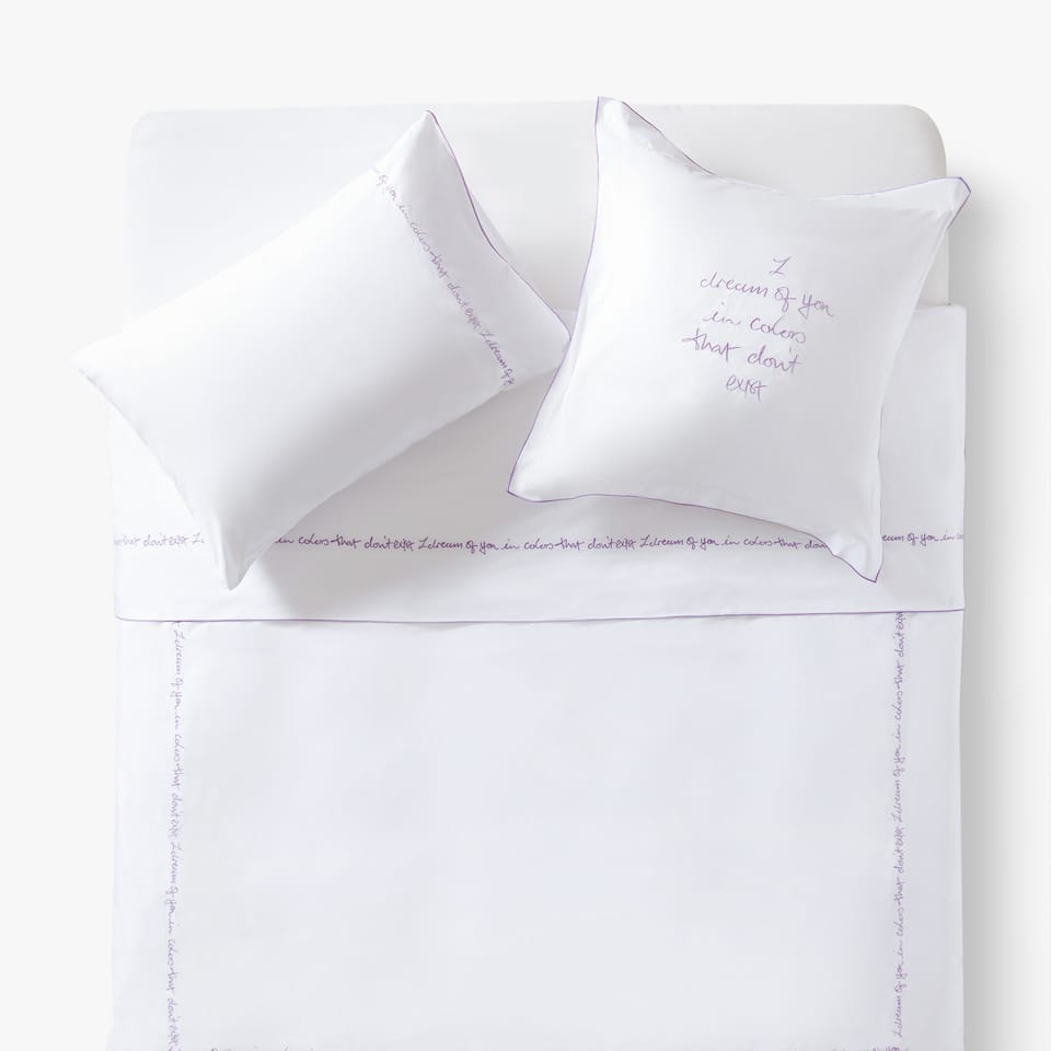 EMBROIDERED SLOGAN DUVET COVER