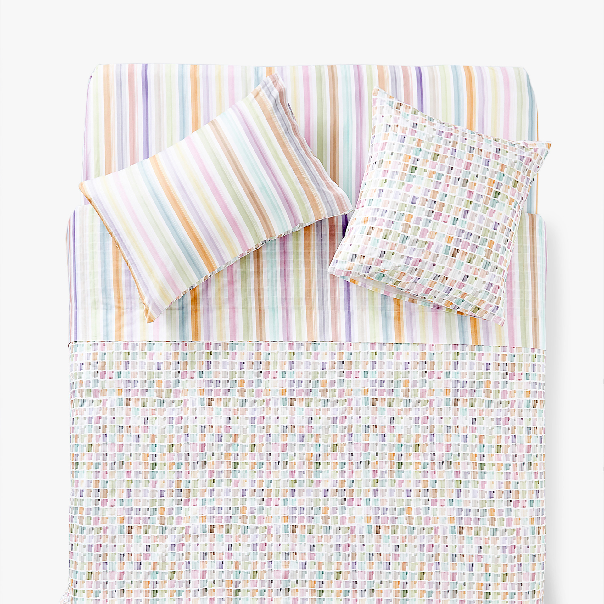 CHECKS AND STRIPES PRINT DUVET COVER