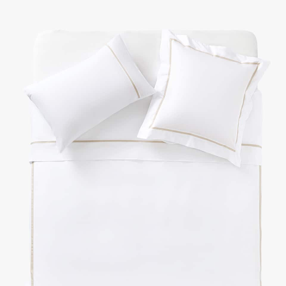 DUVET COVER WITH CONTRASTING BEIGE RIBBON
