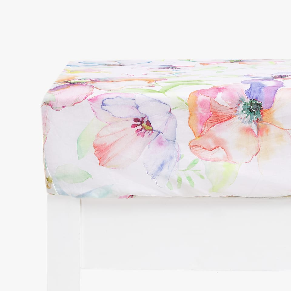 FLOWER AND BUTTERFLY PRINT FITTED SHEET