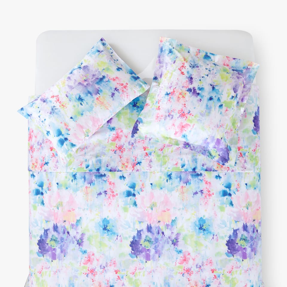 MULTICOLORED WATERCOLOR FLORAL DUVET COVER