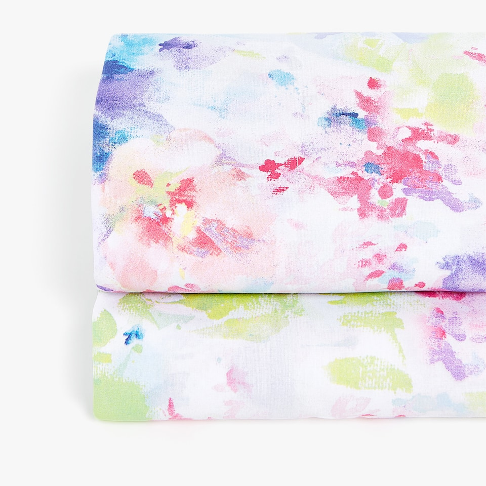 MULTICOLOURED WATERCOLOUR FLORAL FLAT SHEET