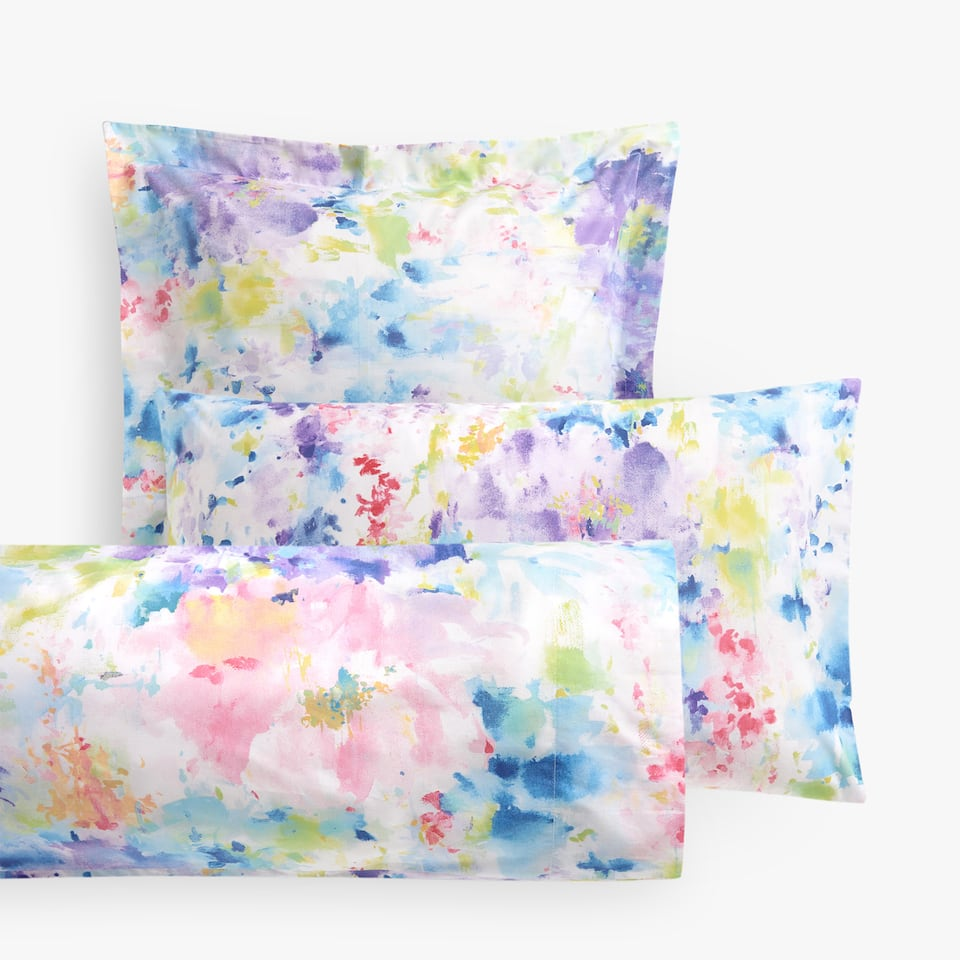 MULTICOLOURED WATERCOLOUR FLORAL PILLOW CASE