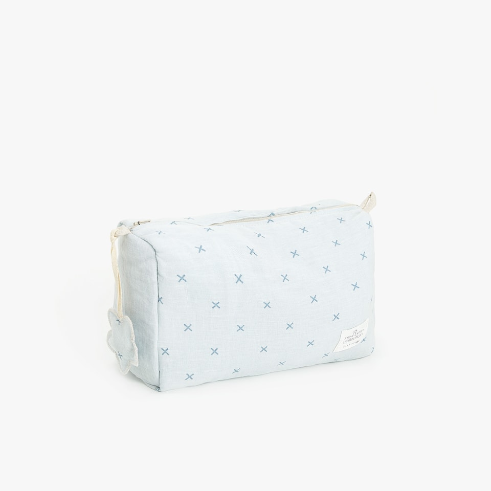 CROSS PRINT LINEN TOILETRY BAG