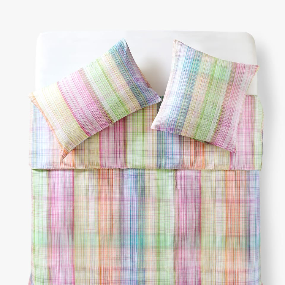 MULTICOLOURED STRIPE PRINT DUVET COVER