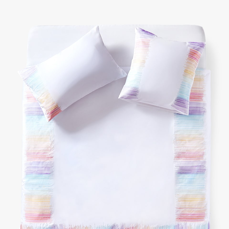 MULTICOLOURED EMBROIDERED STRIPES DUVET COVER
