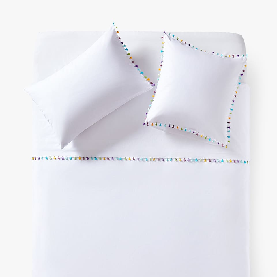 DUVET COVER WITH MULTICOLOURED POMPOMS