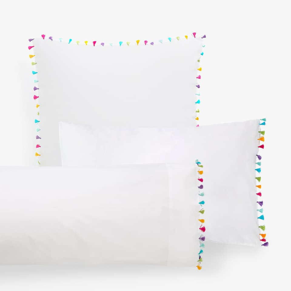 PILLOWCASE WITH MULTICOLOURED POMPOMS