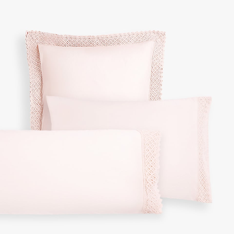 FADED COTTON PILLOWCASE WITH CROCHET DETAIL