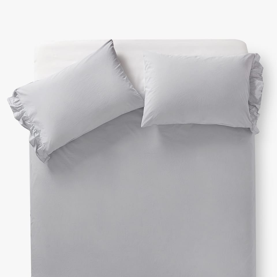 FADED PERCALE DUVET COVER WITH RUFFLE TRIM