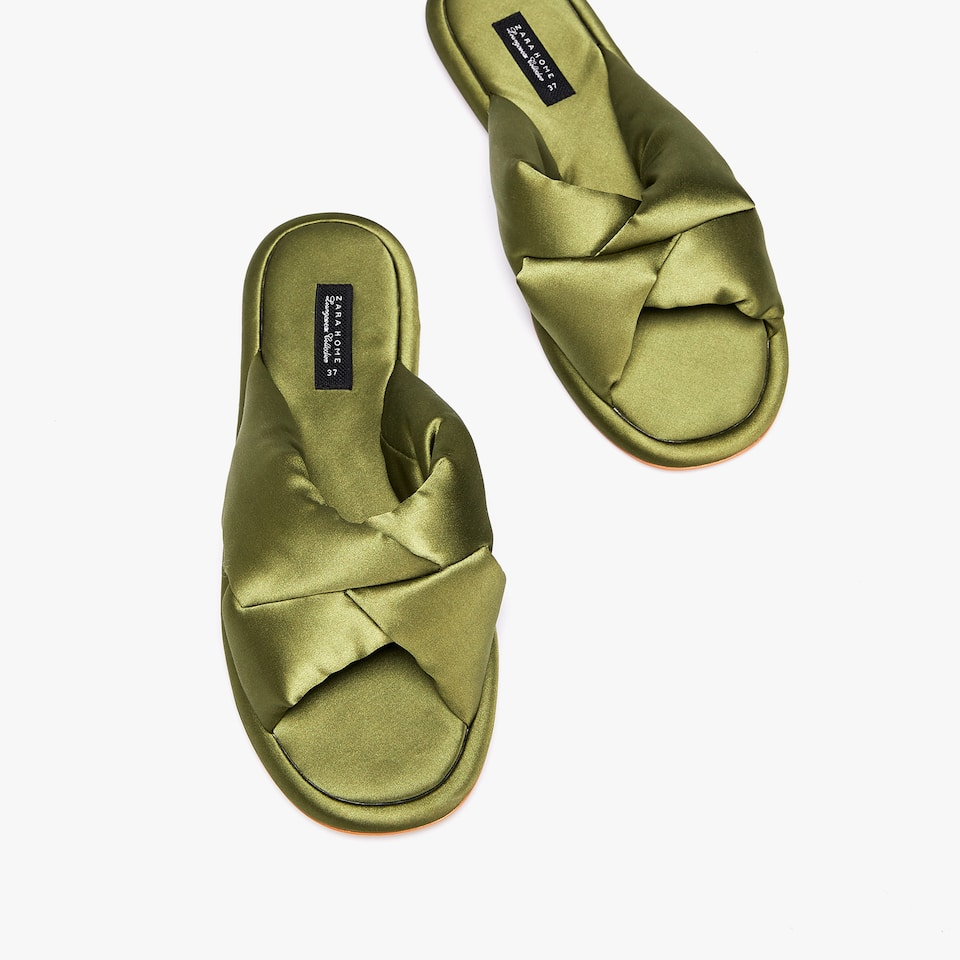 SATEEN CRISS-CROSS SANDALS