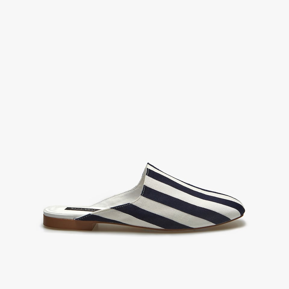 STRIPED FABRIC MULE SLIPPERS