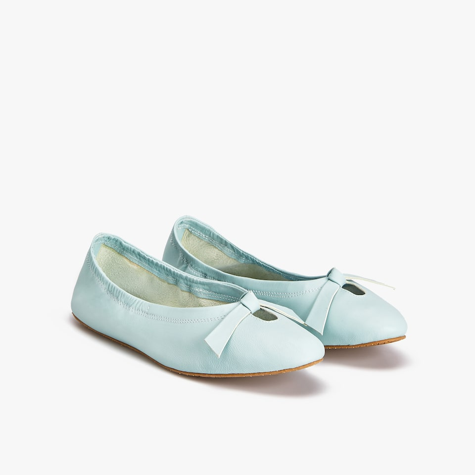 MINT GREEN LEATHER BALLET FLATS