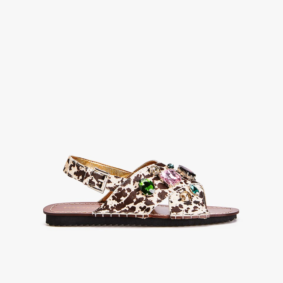 BEJEWELLED CROSSOVER SANDALS