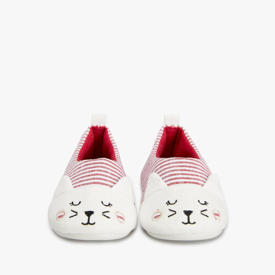 STRIPED KITTEN FACE SLIPPERS