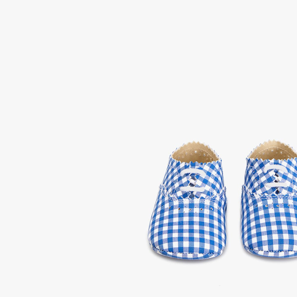 GINGHAM FABRIC BLUCHER BOOTIES