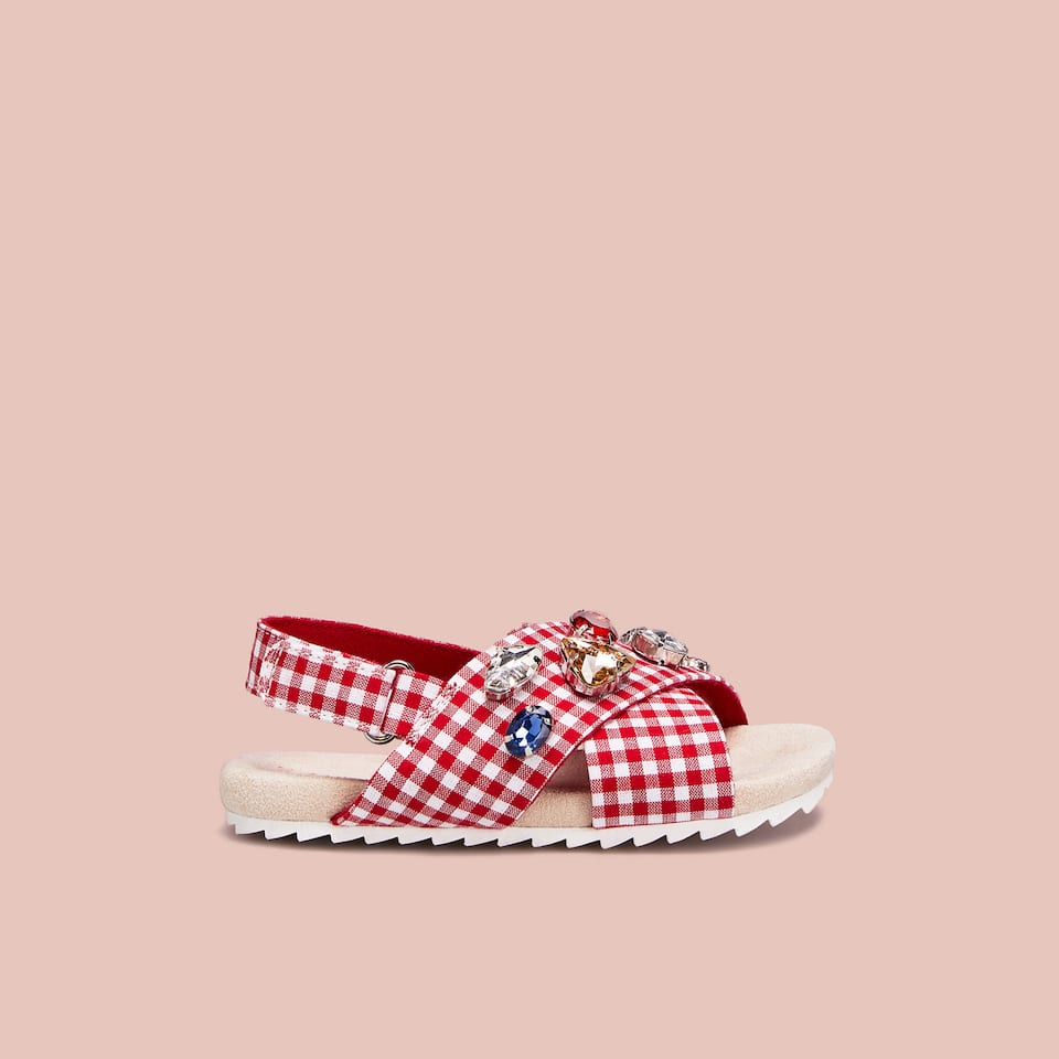 BEJEWELLED GINGHAM SANDALS