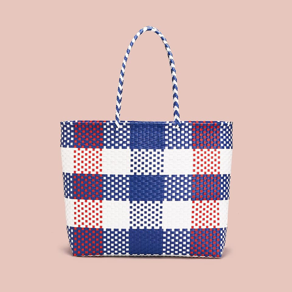 CHECKED RIGID TOTE BAG