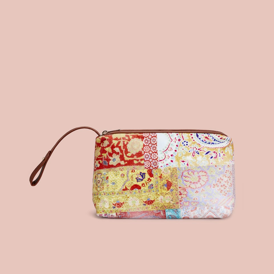 PATCHWORK FABRIC TOILETRY BAG