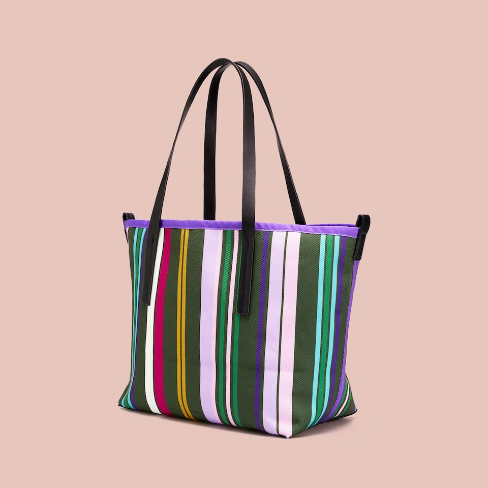 STRIPED FABRIC TOTE BAG