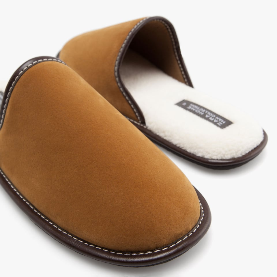 SHEARLING-LINED SLIPPERS